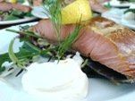 Swedish hot smoked salmon with horseradish sauce